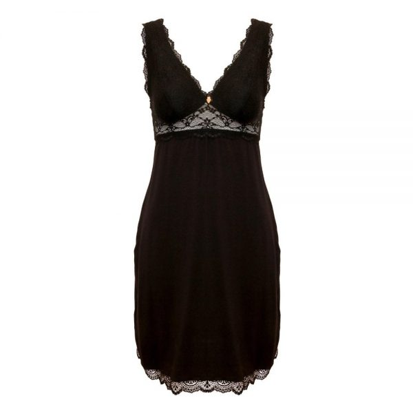 beautiful nightdress in modal and lace front view