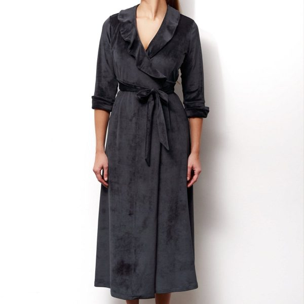 Dressing Gown Audrey in black velours