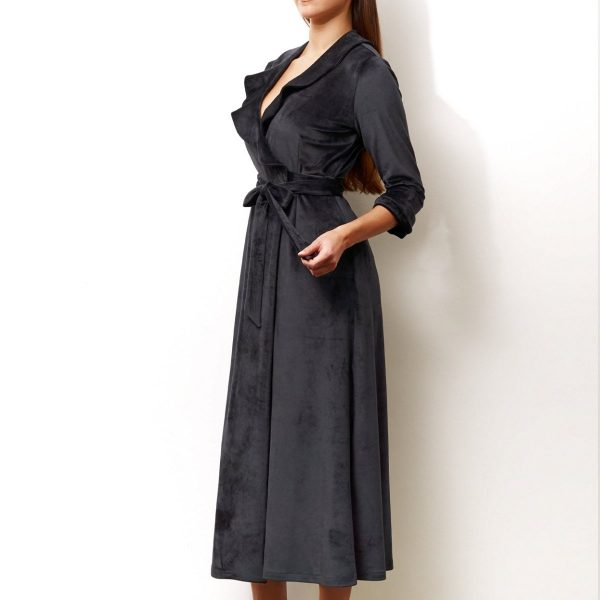Dressing gown robe long black