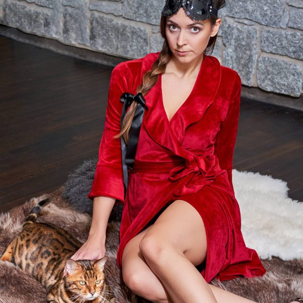soft red velour dressing gown