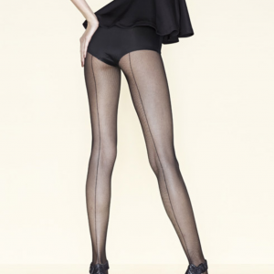 Gerbe black fishnet tights with a black backseam